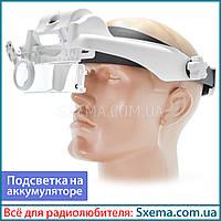 Бинокулярные лупы очки MG81000SC 1,5x-11,5x мощная Led подсветка, встроенный аккумулятор !