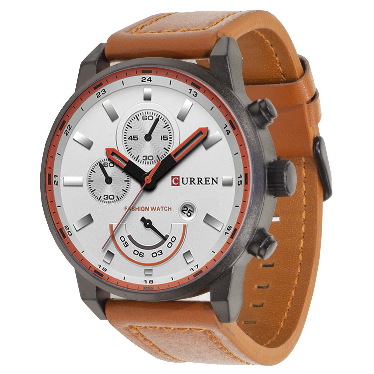Мужские часы CURREN 8217 White + Brown (3116-8680а)