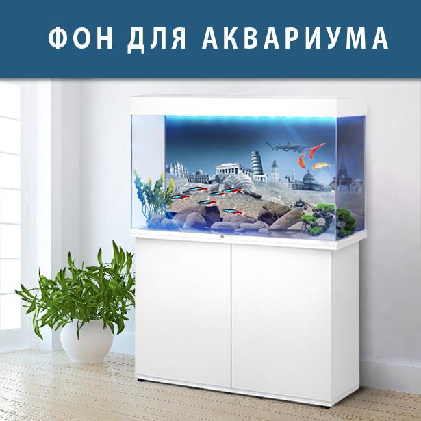 Подводное море с флорой в ваш аквариум 40х65 см.