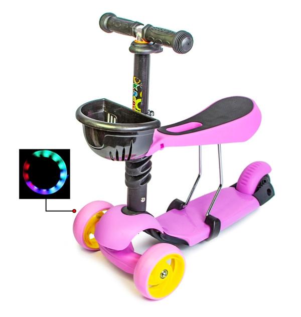 Самокат Scooter Smart  3в1 Лиловый цвет, смарт-колеса светящиеся