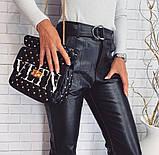 Женские брюки из эко кожи с ремнем высокая посадка, фото 2