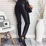 Женские брюки из эко кожи с ремнем высокая посадка, фото 3