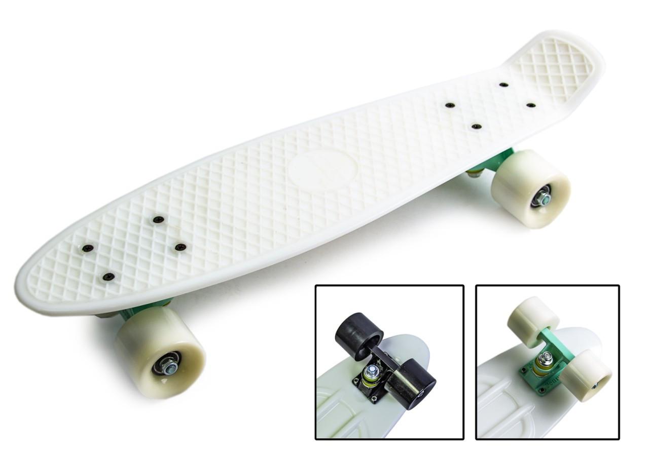 Скейт Penny Board белый цвет, матовые колеса