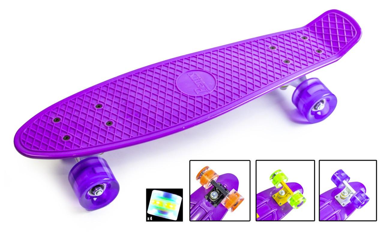 Скейтборд Penny Board фиолетовый, светящиеся колеса