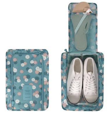Сумка для обуви на 2 пары мягкая с рисунком Genner голубая в цветы 01083/01
