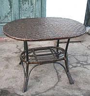 Стол плетеный коричневый овальный