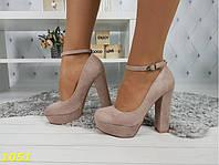 Туфли с застежкой на толстом каблуке пудровые в замше 1051