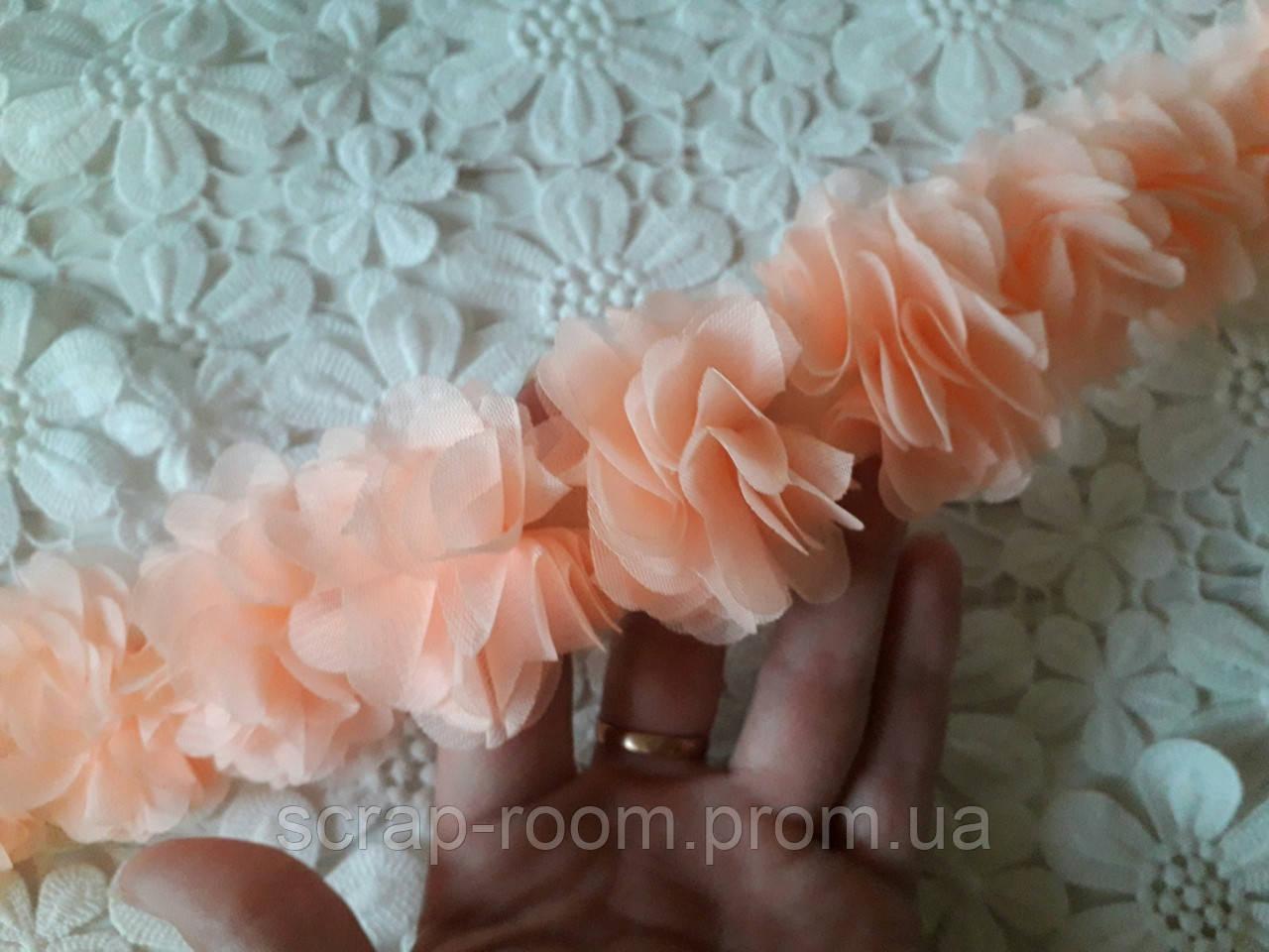 Лента шифоновая персик, шифоновая лента цветы, персиковая шифоновая лента, цена указана за  30 см