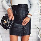 Женская юбка из эко-кожи черная, бежевая, марсала, фото 2