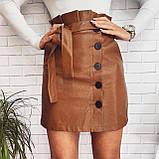 Женская юбка из эко-кожи черная, бежевая, марсала, фото 3