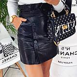 Женская юбка из эко-кожи черная, бежевая, марсала, фото 4