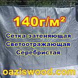 Серебристая сетка 3м 140г/м² фасадная, энергосберегающая, светоотражающая. Степень затенения до 99%, фото 4