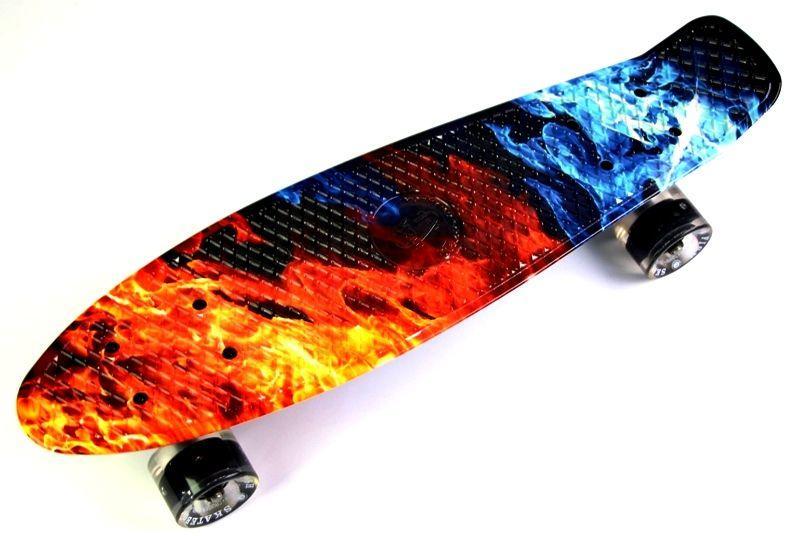 """Скейт Penny Board """"Fish"""" Огонь и лед, светящиеся колеса"""