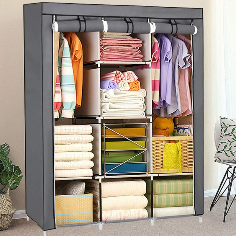 Складной каркасный тканевый шкаф Storage Wardrobe 88130, шкаф на три секции