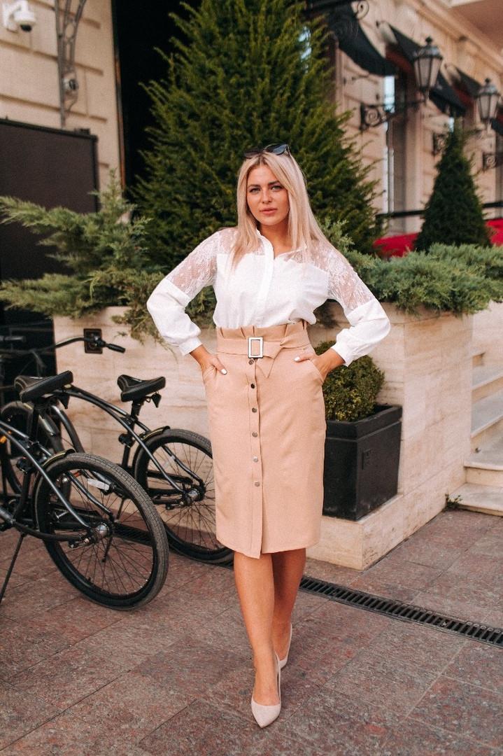 """Классическая юбка-карандаш """"Karin"""" с поясом и карманами (большие размеры)"""