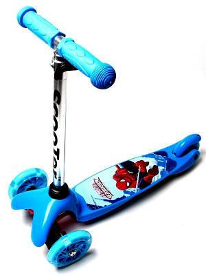 Самокат дитячий триколісний Micro Mini Спайдермен блакитний, світяться колеса