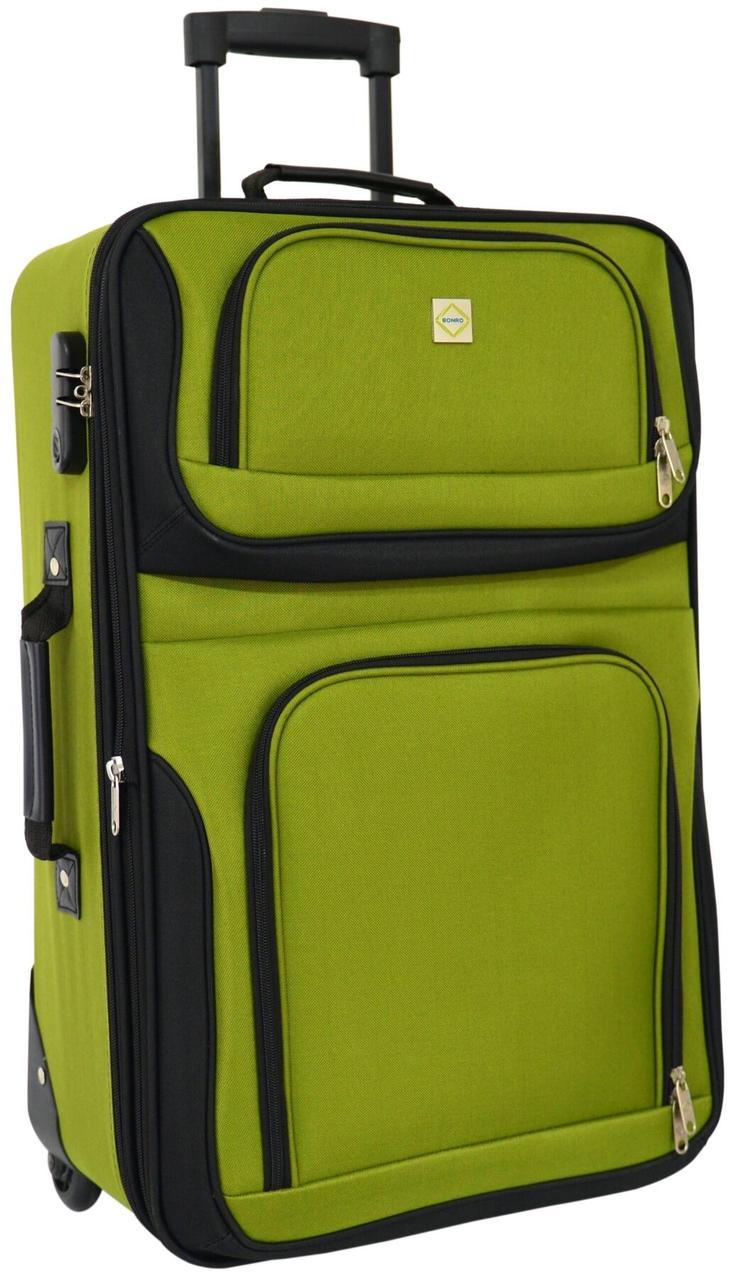Дорожный чемодан на колесах Bonro Best средний зеленый