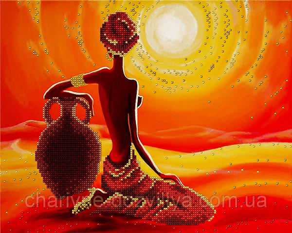 Схема для частичной вышивки бисером Солнце Африки
