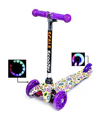 Самокат дитячий триколісний Mini Best фіолетовий з квітами, що світяться колеса