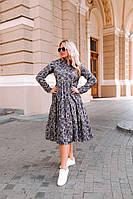 """Штапельное платье-рубашка в цветочек """"Daniela"""" с длинным рукавом (большие размеры)"""