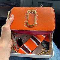 Женская сумка в стиле Marc Jacobs (Марк Джейкобс), оранжевая с розовым