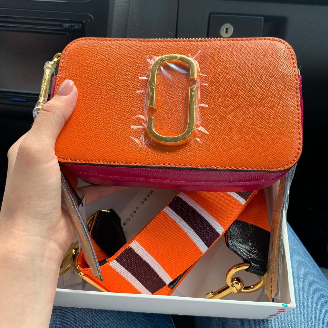 Жіноча сумка в стилі Marc Jacobs (Марк Джейкобс), помаранчева з рожевим