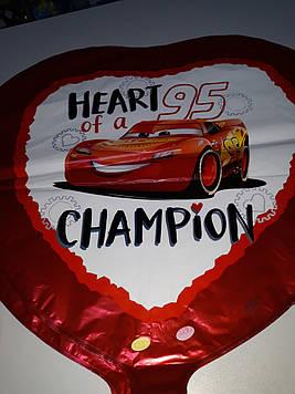 """Воздушный шар фольгированный сердце с рисунком """"Тачки"""" красный 1шт"""