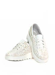 Туфли женские белые с принтом кожаные (0164)