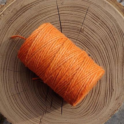 Джутовая пряжа цветная, 2 мм, 2 нити (оранжевый), фото 2