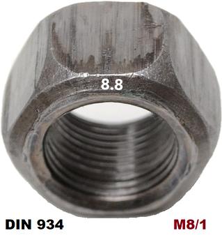 М8/1мм Гайка шестигранная Мелкая резьба Каленая 8.8 (DIN 934)