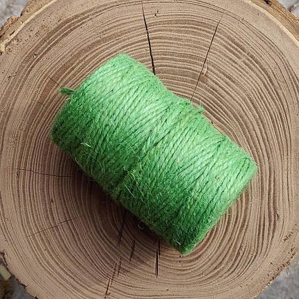 Джутовая пряжа цветная, 2 мм, 2 нити (оливковый зеленый), фото 2