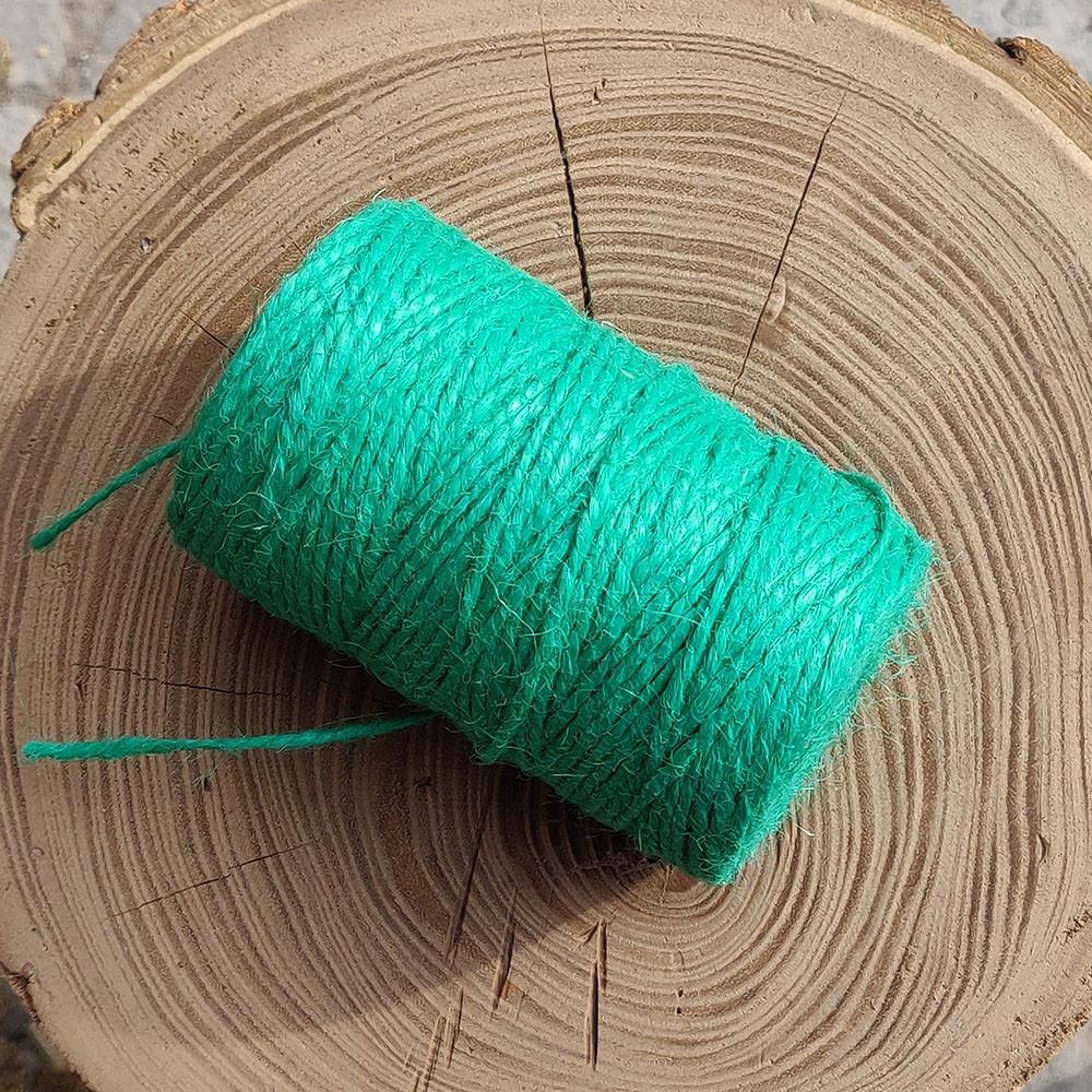 Джутовая пряжа цветная, 2 мм, 2 нити (бирюзовый)