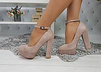 Туфли женские на высоком каблуке с чокером, пудровые, материал - эко-замша, код SL-1051