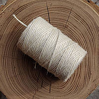 Джутовая пряжа цветная, 2 мм, 2 нити (белый)