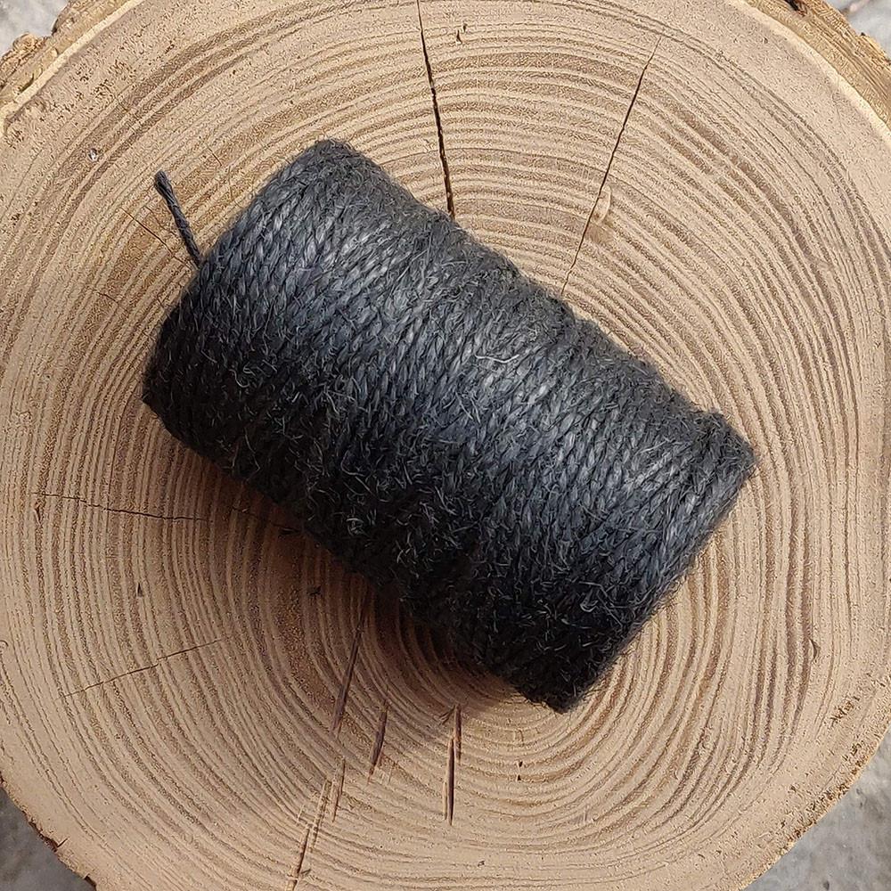 Джутовая пряжа цветная, 2 мм, 2 нити (черный)