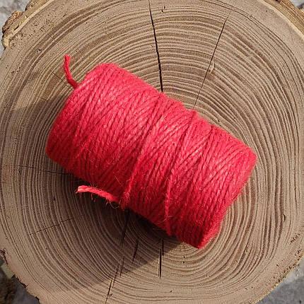 Джутовая пряжа цветная, 2 мм, 2 нити (красный), фото 2