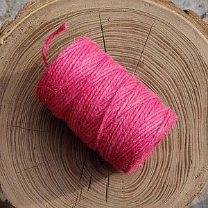 Джутовая пряжа цветная, 2 мм, 2 нити (розовый)