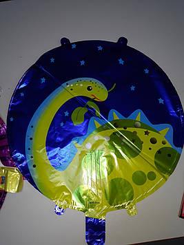 Воздушный шар фольгированный круглый с рисунком динозаврик 1шт