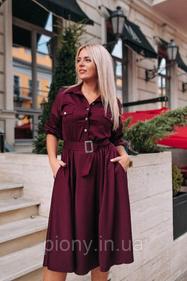 Женское платье миди с карманами БАТАЛ