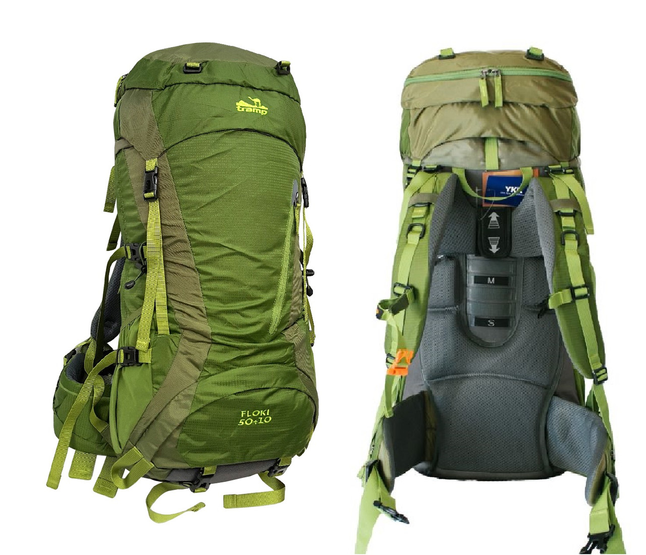 Рюкзак туристический 50 + 10 л Tramp Floki зеленый. Рюкзак туристический 60л.