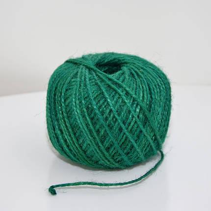 Джутовая пряжа цветная, 2 мм, 2 нити (зеленый), фото 2
