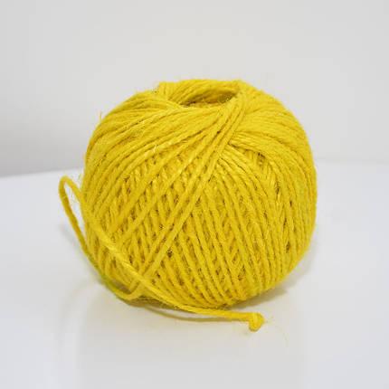 Джутовая пряжа цветная, 2 мм, 2 нити (желтый), фото 2