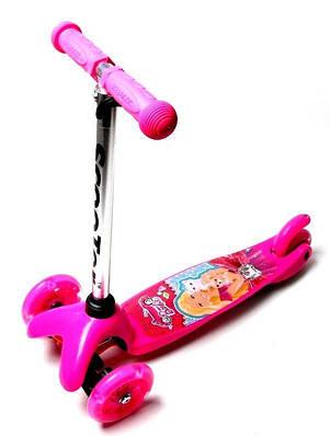 Самокат дитячий триколісний Micro Mini Барбі рожевий, світяться колеса