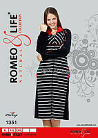 Женский велюровый халат на молнии Romeo&Life (большие размеры) № RL-1351