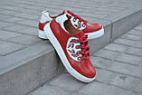 Кеды женские красные кожаные 752027, фото 3