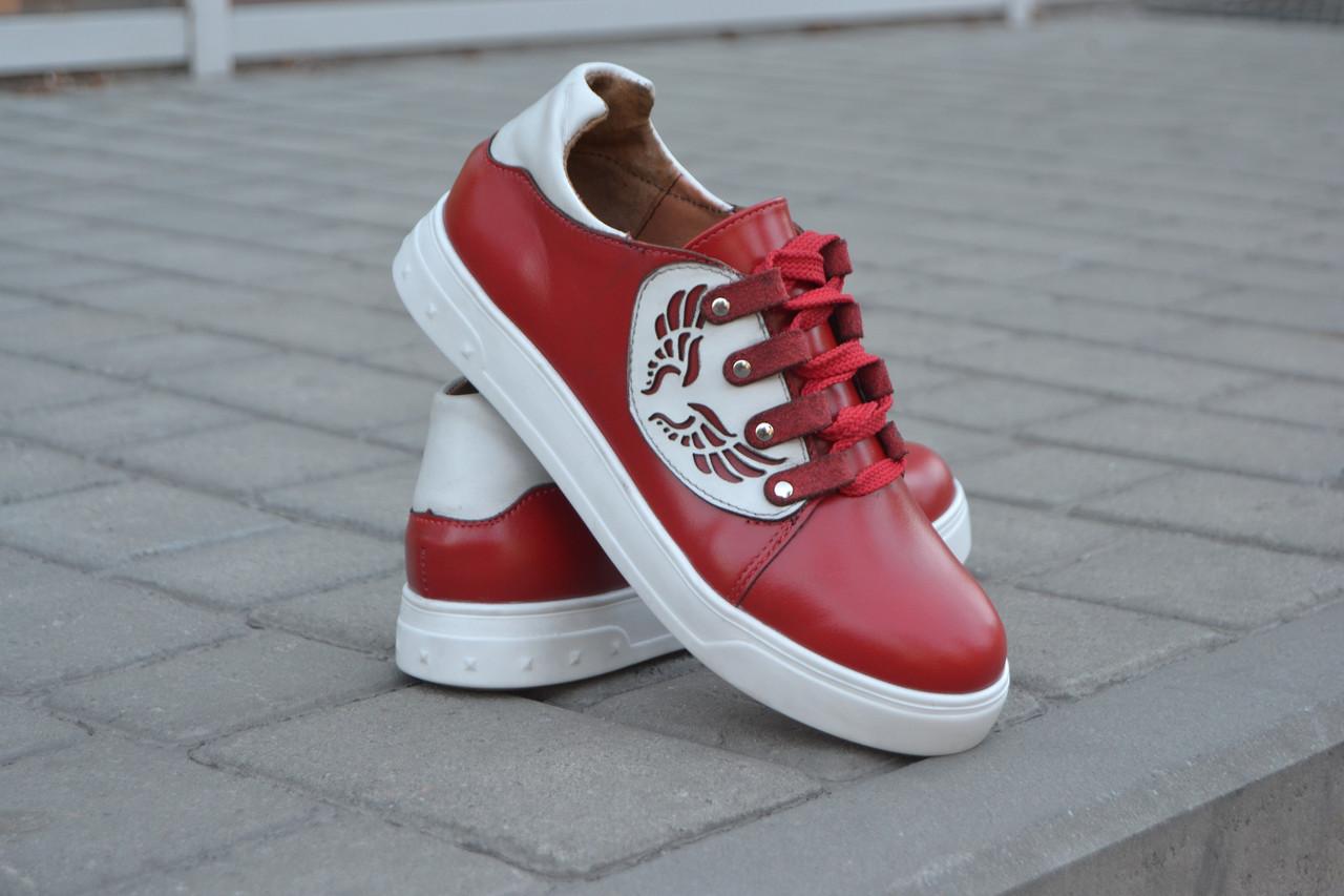 Кеды женские красные кожаные 752027