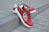Кеды женские красные кожаные 752027, фото 4