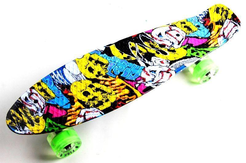 "Скейтборд Penny Board ""Fish"" Джокер светящиеся колеса"