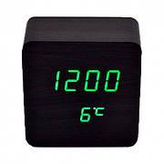 Настольные LED часы с температурой VST-872 Черное дерево (Зеленая подсветка)