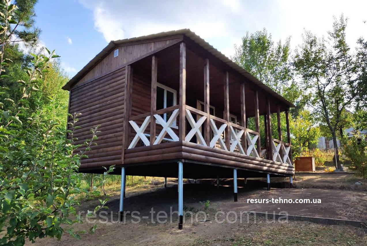 Дачный домик 7м х 3м из блокхауса с террассой